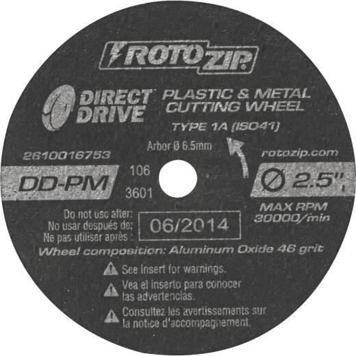 Rotozip Direct Drive 2-1/2 In. 30,000 rpm Plastic and Metal Cutting Wheel