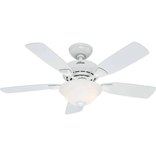 Hunter Caraway 44 In. White Ceiling Fan with Light Kit
