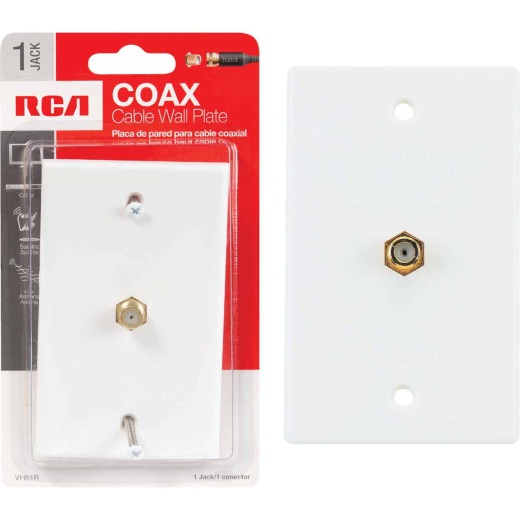 RCA White Single F-Connector Coaxial Wall Plate