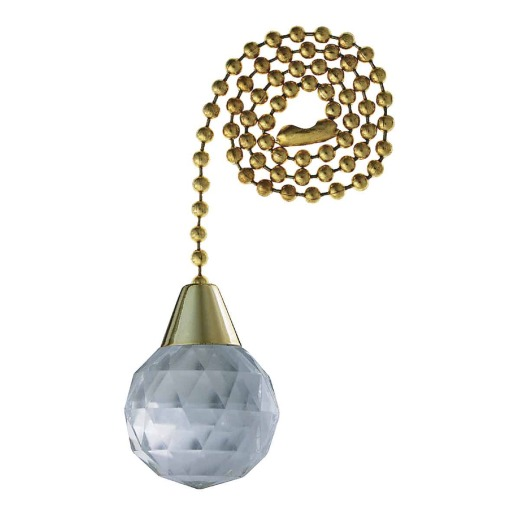 Westinghouse 12 In. Polished Brass Pull Chain with Clear Prismatic Sphere Ornament