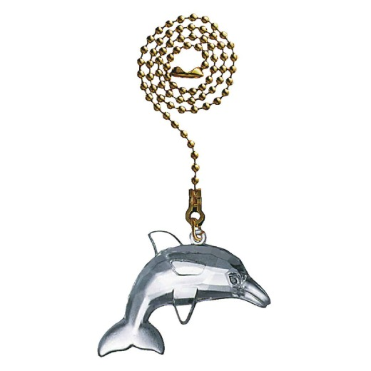 Westinghouse 12 In. Polished Brass Pull Chain with Clear Dolphin Ornament