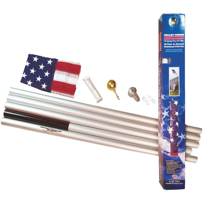 Valley Forge 3 Ft. x 5 Ft. Nylon American Flag & 20 Ft. Pole Kit Image 2